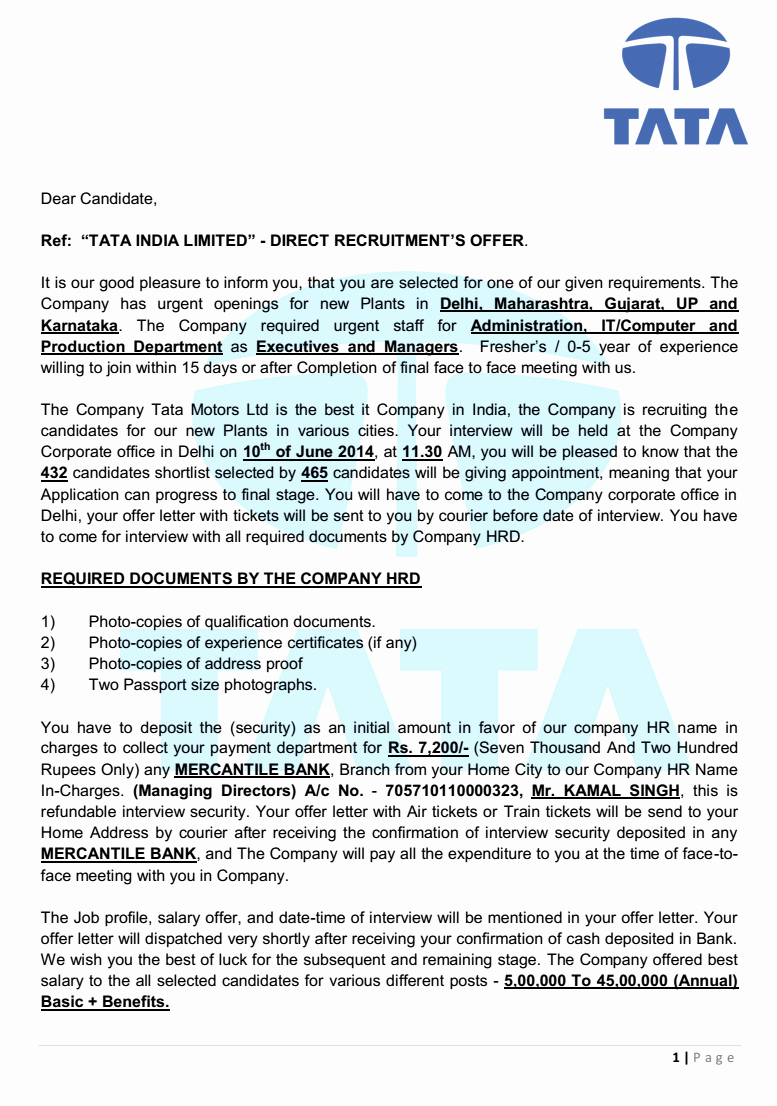 Fake Job Offer Letter Template Unique Tata India Limited Offer Letter Beware Of Fake Job Offer