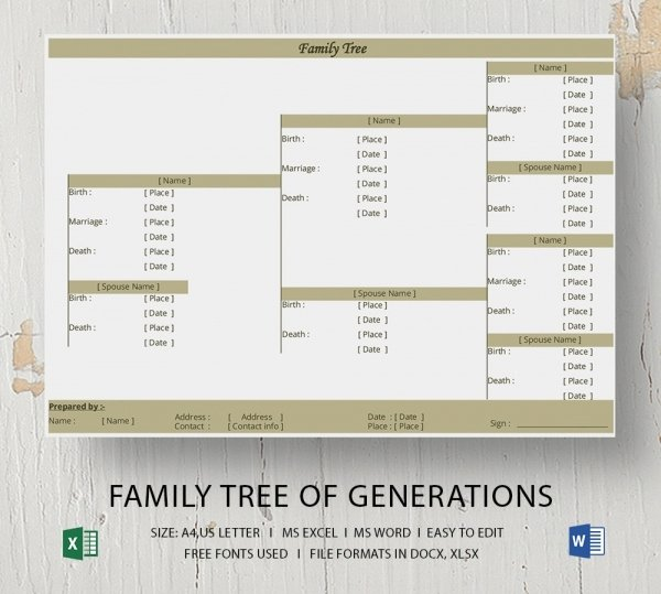 Family Tree Template Free Editable Lovely Blank Family Tree Template 32 Free Word Pdf Documents