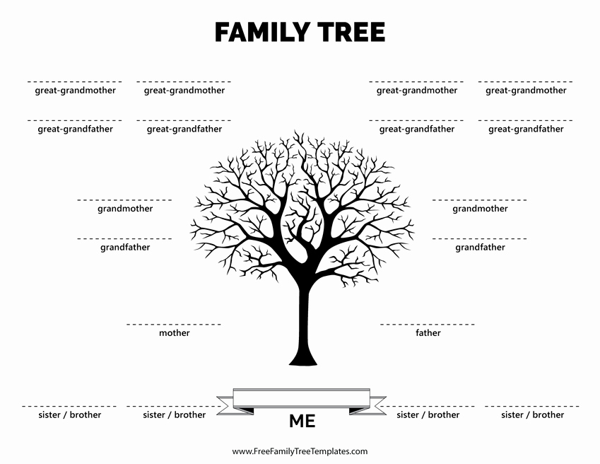 Family Tree Template with Siblings Awesome Family Tree with 4 Siblings Template – Free Family Tree