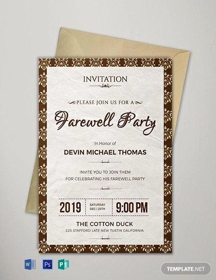 Farewell Invitation Template Free Beautiful 16 Farewell Card Template Word Pdf Psd Eps