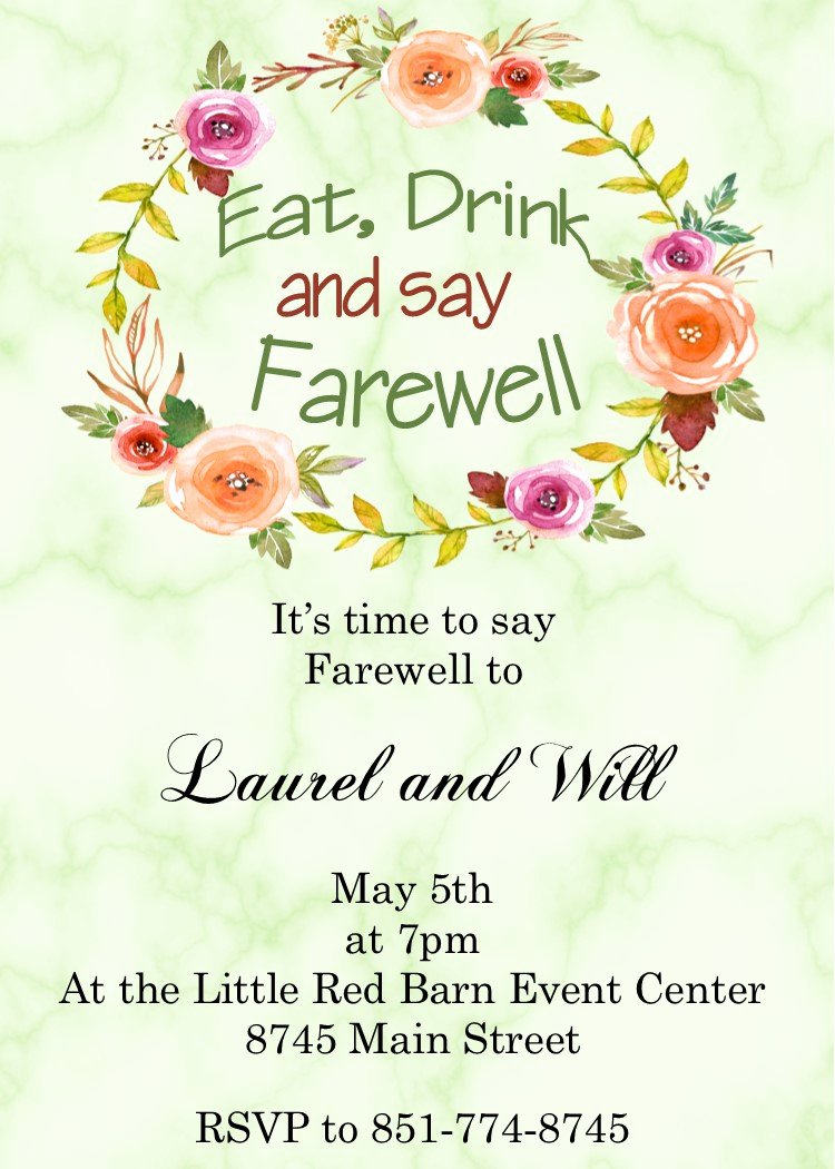 Farewell Invitation Template Free Elegant Going Away Party Invitations New Selections Summer 2018