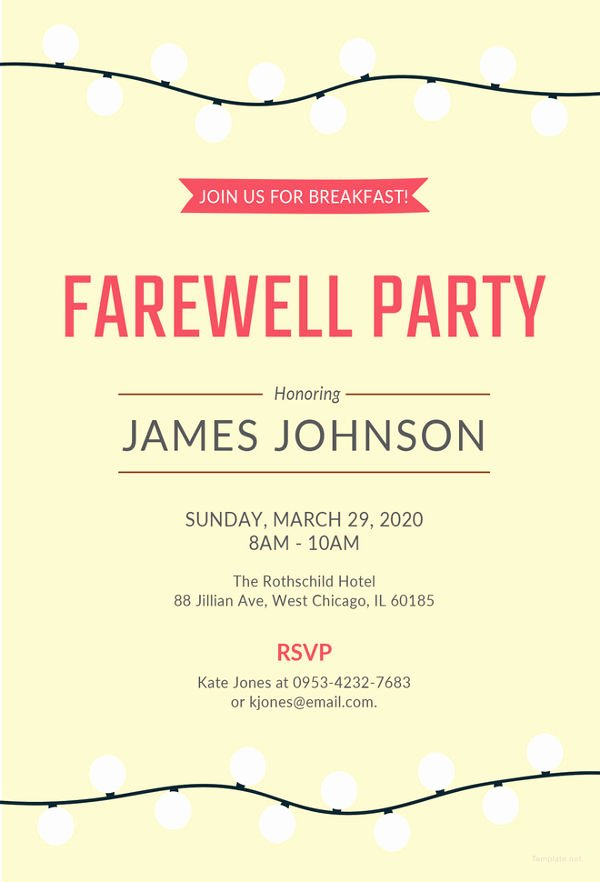 Farewell Invitation Template Free Lovely Farewell Party Invitation Template 29 Free Psd format