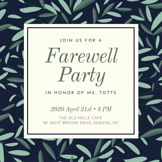 Farewell Invitation Template Free Lovely Farewell Party Invitation Templates Canva