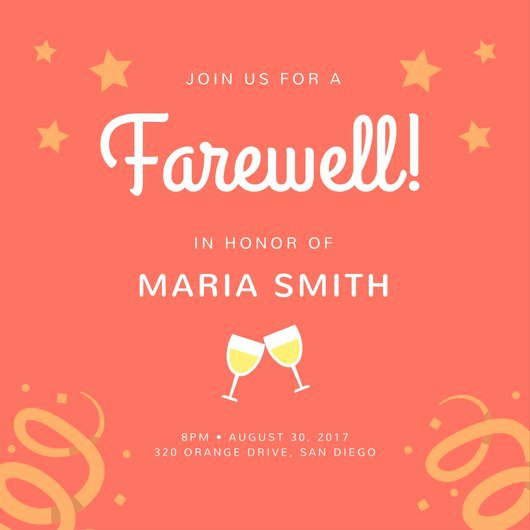 Farewell Invitation Template Free Lovely orange Stars Farewell Party Invitation Templates by Canva