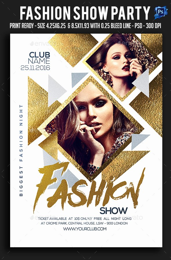 Fashion Show Program Templates Elegant Fashion Show Party Flyer by Sparkg