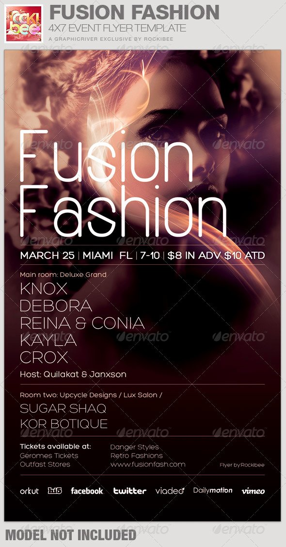 Fashion Show Programme Template Awesome Fusion Fashion event Flyer Template by Rockibee