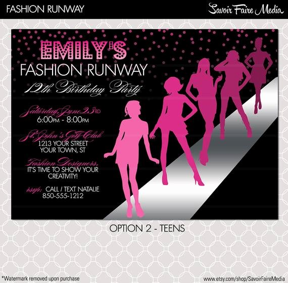 Fashion Show Programme Template Elegant Fashion Show Invitation Project Runway Inspired Birthday