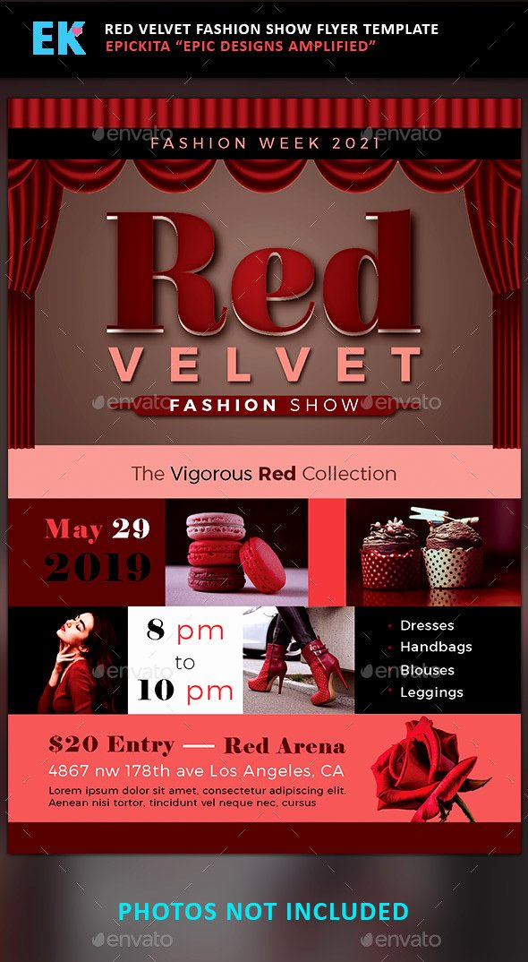 Fashion Show Programme Template Luxury Red Velvet Fashion Show Flyer Template by Epickita