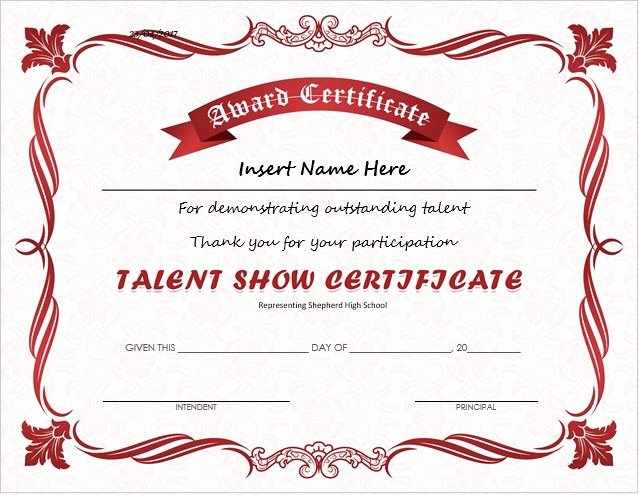 Fashion Show Programme Template Unique Talent Show Award Certificate Download at