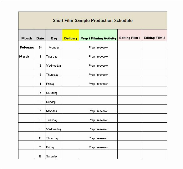 Film Business Plan Template Inspirational Production Schedule Template