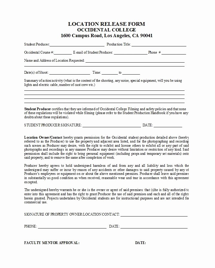 Film Release form Template Best Of 50 Free Location Release forms [for Documentary