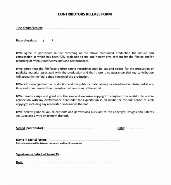 Film Release form Template Best Of Sample Release form 9 Download Documents In Pdf