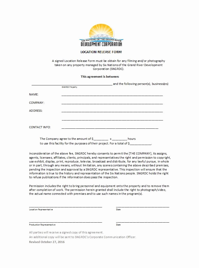 Film Release form Template Elegant 50 Free Location Release forms [for Documentary