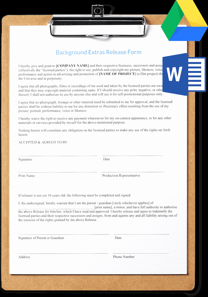 Film Release form Template Elegant Extras Release Template Free and Professional Download