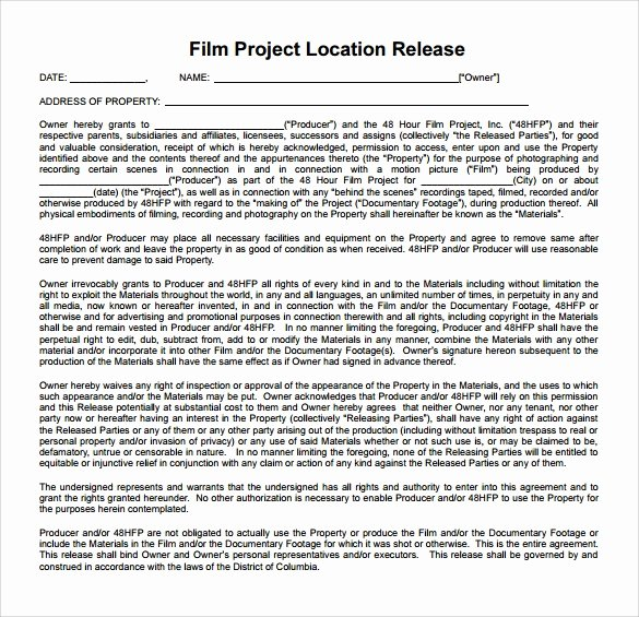 Film Release form Template Fresh Sample Location Release form 19 Download Free Documents