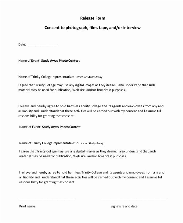 Film Release form Template Lovely 47 Printable Release form Samples & Templates Pdf Doc