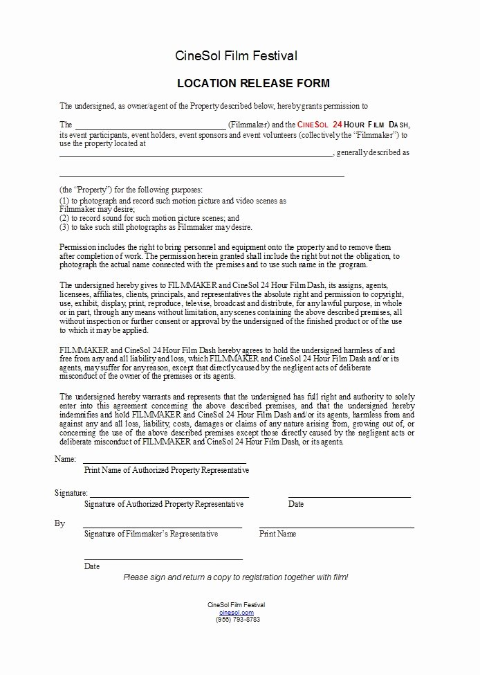 Film Release form Template Lovely 50 Free Location Release forms [for Documentary