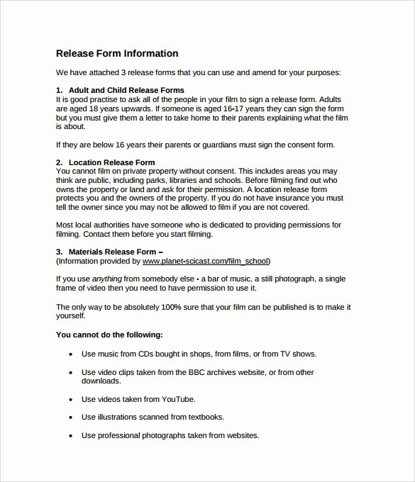 Film Release form Template Lovely Sample Release form 9 Download Documents In Pdf