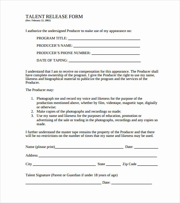 Film Release form Template Luxury Sample Release form 9 Download Documents In Pdf