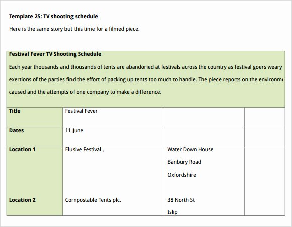 Film Shooting Schedule Template Beautiful Sample Shooting Schedule 12 Documents In Pdf Word Excel