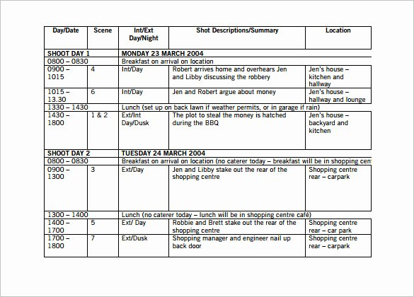 Film Shooting Schedule Template Best Of Shooting Schedule Template