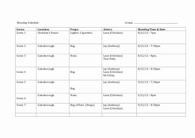 Film Shooting Schedule Template Fresh Shooting Schedule Group