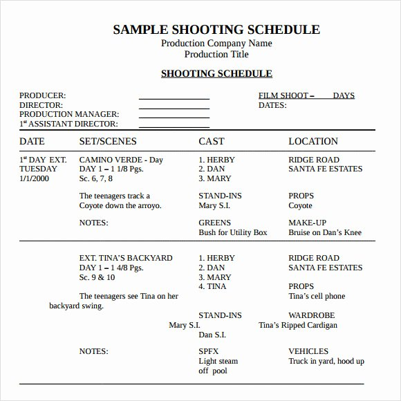 Film Shooting Schedule Template Inspirational Sample Shooting Schedule 12 Documents In Pdf Word Excel