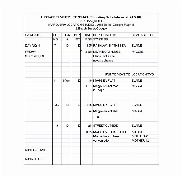 Film Shooting Schedule Template Inspirational Shooting Schedule Template
