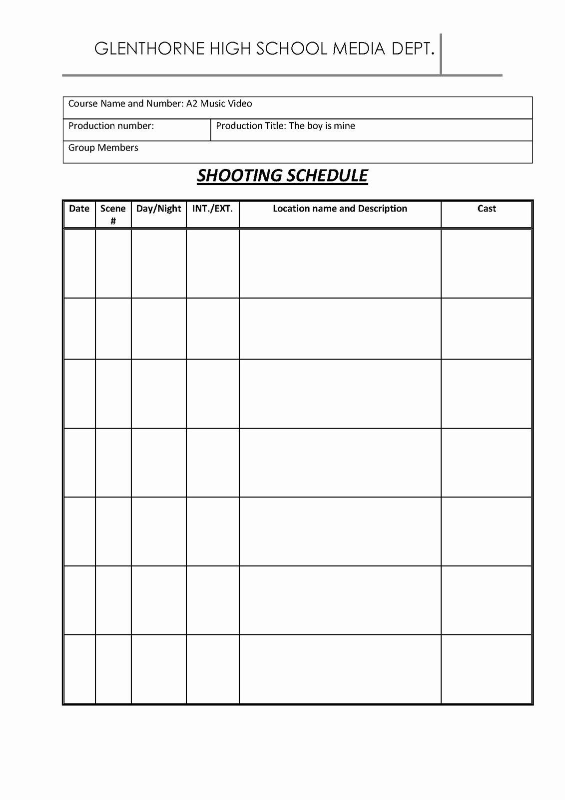 Film Shooting Schedule Template Luxury Gabrielle Roachford 12 Shooting Schedule