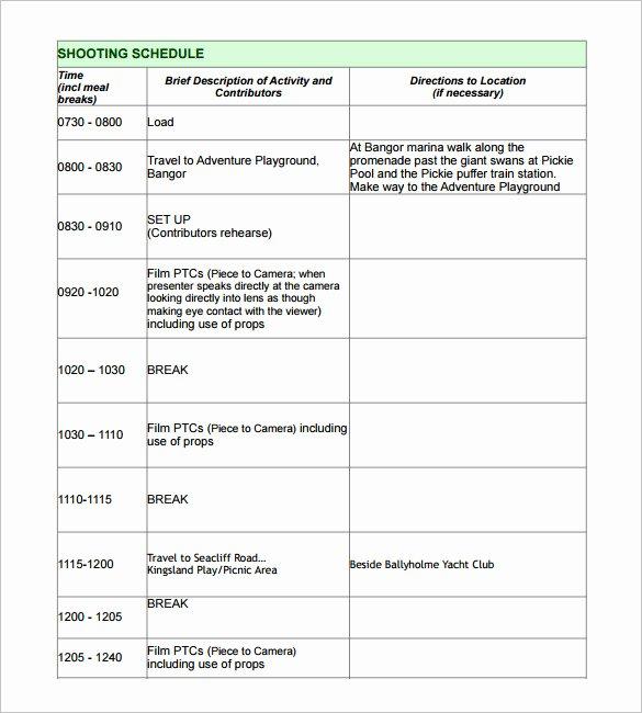 Film Shooting Schedule Template Luxury Production Schedule Template – Printable Schedule