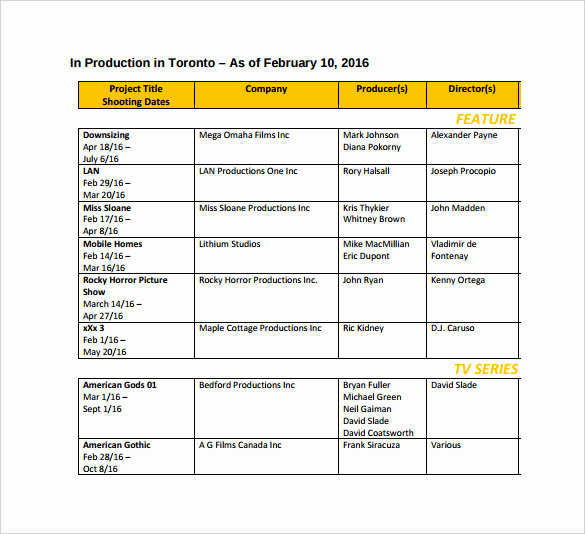 Film Shooting Schedule Template New Film Schedule Template E Checklist that You Should Keep