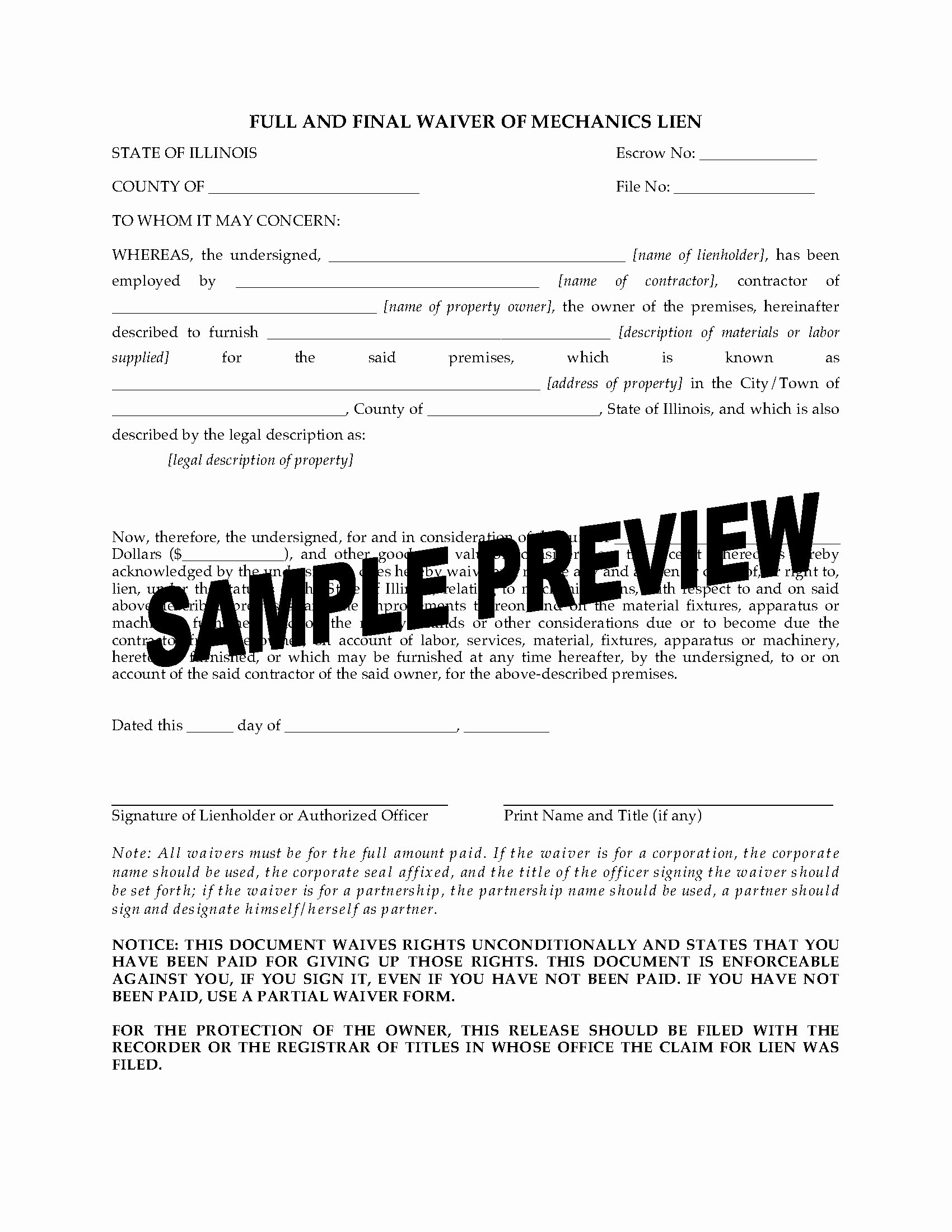 Final Lien Waiver Template Beautiful Illinois Full and Final Waiver Of Mechanics Lien