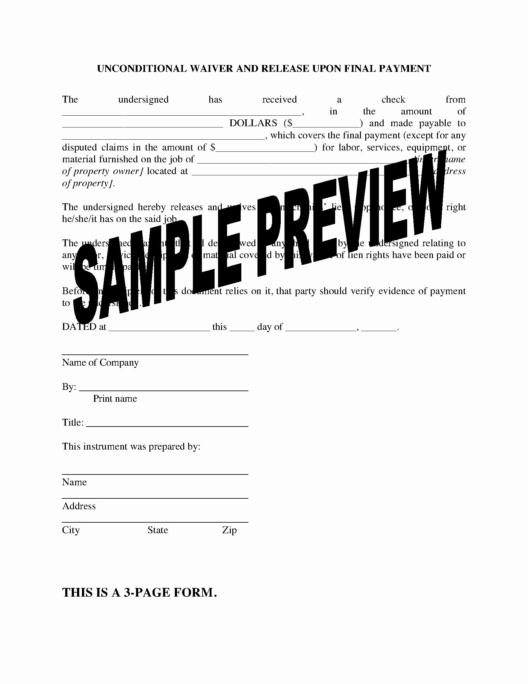 Final Lien Waiver Template Elegant Colorado Unconditional Lien Waiver and Release On Final