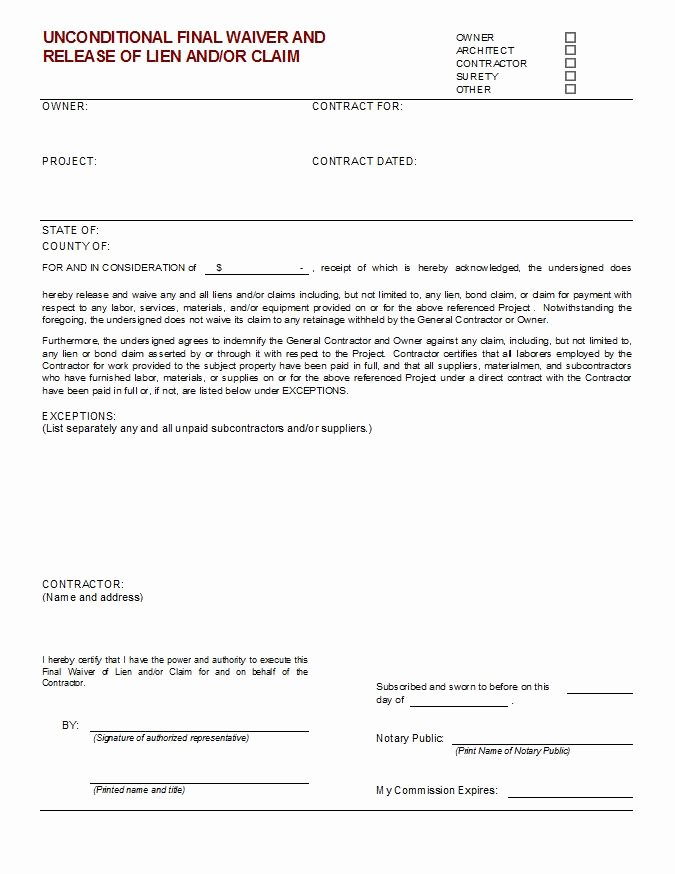 Final Lien Waiver Template Elegant Unconditional Final Waiver Of Lien and or Claim Cms