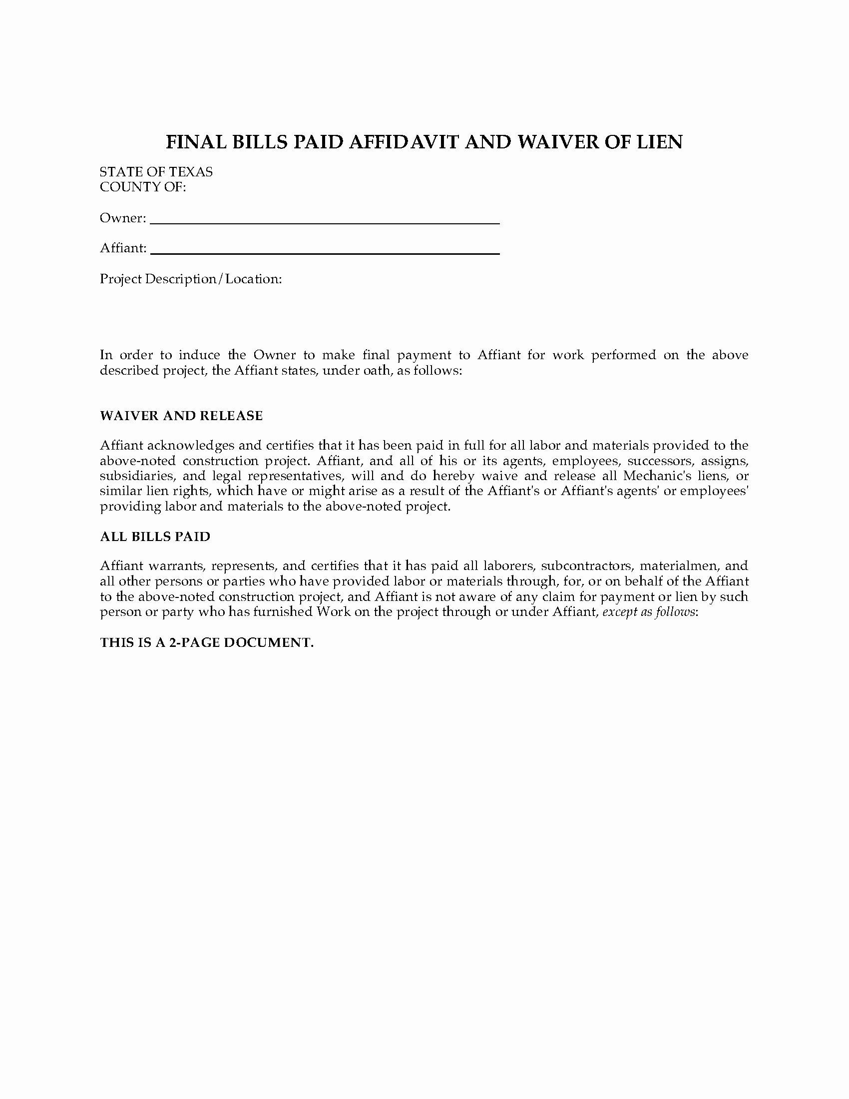 Final Lien Waiver Template Lovely Texas Final Bills Paid Affidavit and Waiver Of Lien