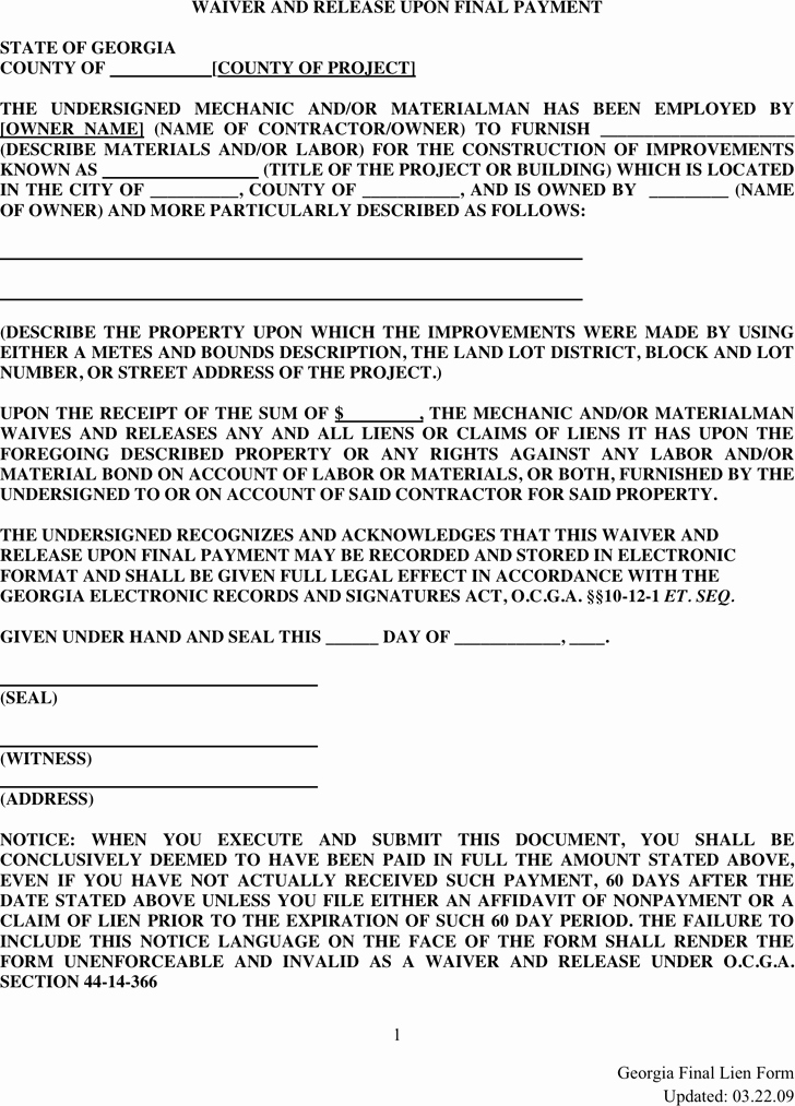 Final Lien Waiver Template Luxury Lien Release Template Free Template Download Customize