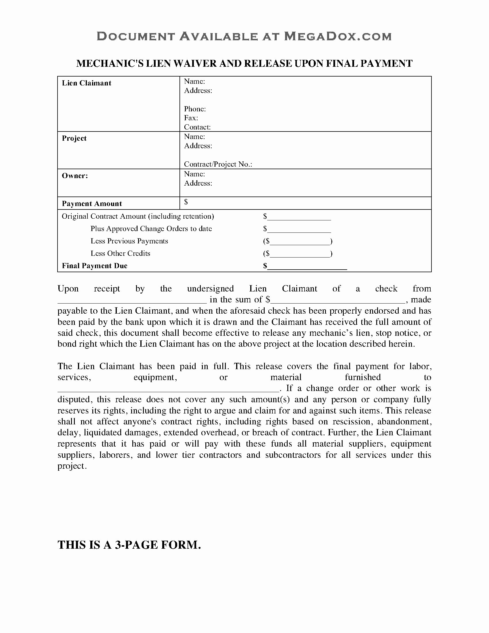 Final Lien Waiver Template Luxury Oklahoma Mechanic S Lien Waiver and Release On Final