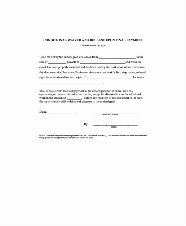 Final Lien Waiver Template New 7 Sample Conditional Release form Free Sample Example