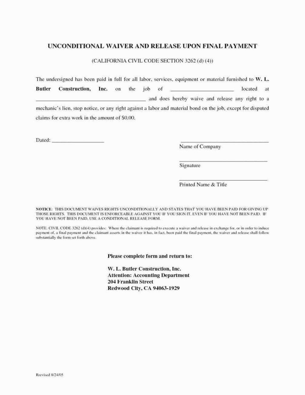 Final Lien Waiver Template New Conditional Release form Release for Conditional Release