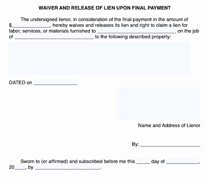 Final Lien Waiver Template New Lien Waiver form Free Waiver Of Lien form Downloads for