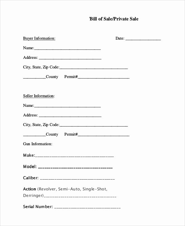 Firearms Bill Of Sale Template Awesome Sample Bill Of Sale for Gun 8 Examples In Pdf