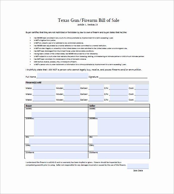 Firearms Bill Of Sale Template Elegant Gun Bill Of Sale Template – 10 Free Word Excel Pdf