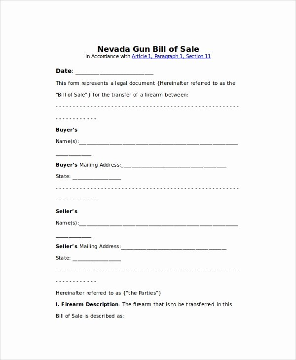 Firearms Bill Of Sale Template New Sample Gun Bill Of Sale 8 Examples In Pdf Word