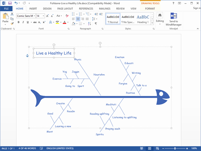 Fishbone Diagram Template Word Lovely Fishbone Diagram for Word Made by Edraw Max A Fishbone