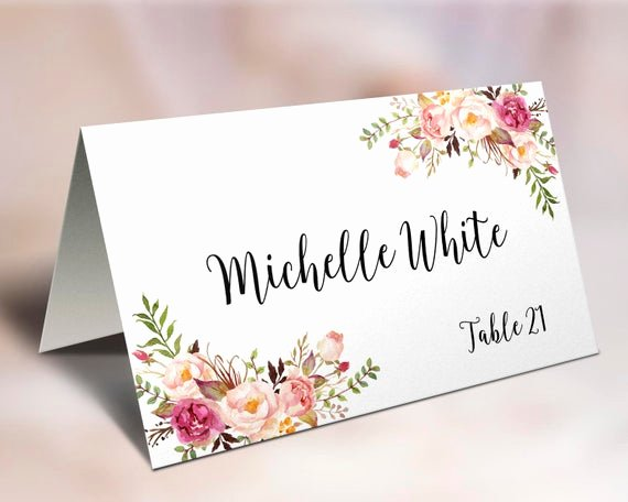 Fold Over Place Card Template Awesome Wedding Place Cards Place Card Template Editable Reserved