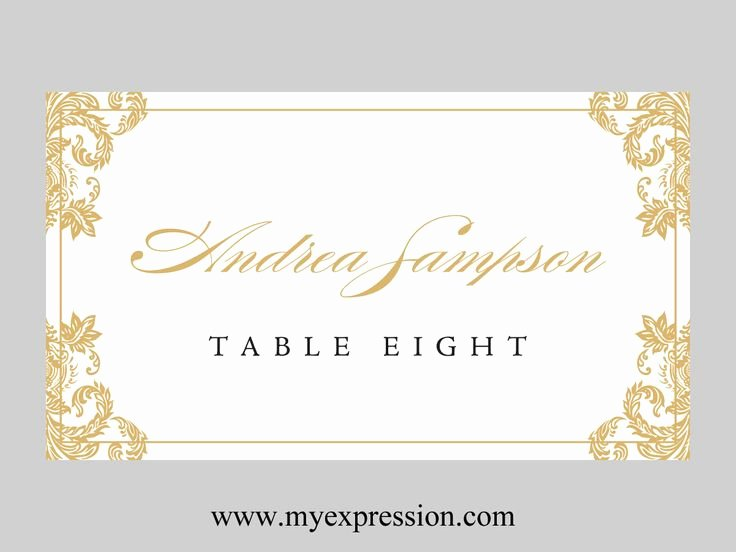 Fold Over Place Card Template Awesome Wedding Place Cards Template Folded – Gold Damask
