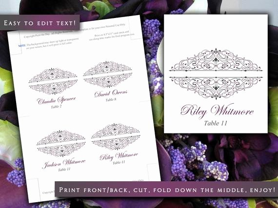 Fold Over Place Card Template Awesome Wedding Tent Place Cards Template Catalina Plum