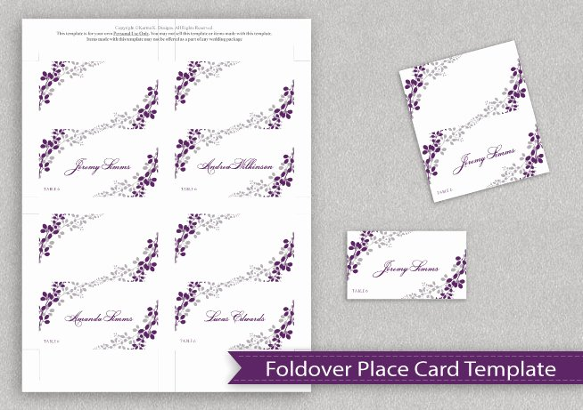Fold Over Place Card Template Luxury Wedding Place Card Template Download Instantly by