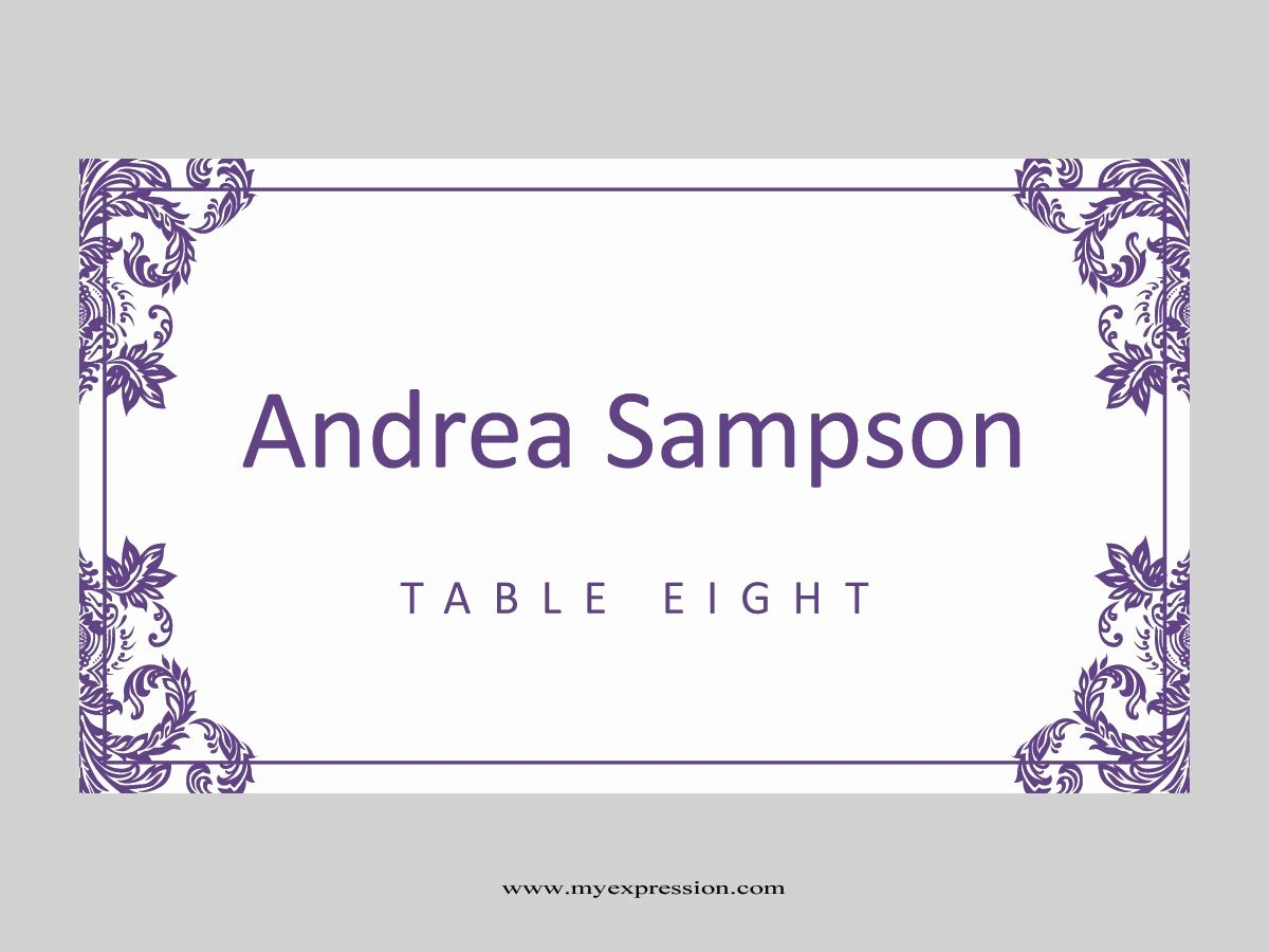 Fold Over Place Card Template New Wedding Place Cards Template Folded Purple Damask