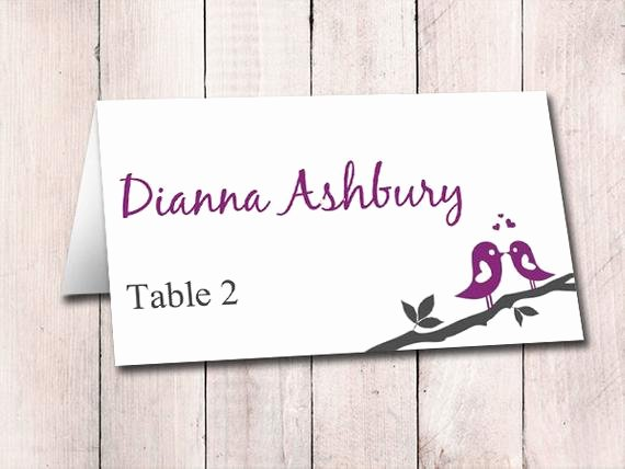Fold Over Place Card Template Unique Fold Over Wedding Place Card Template Escort Card Love